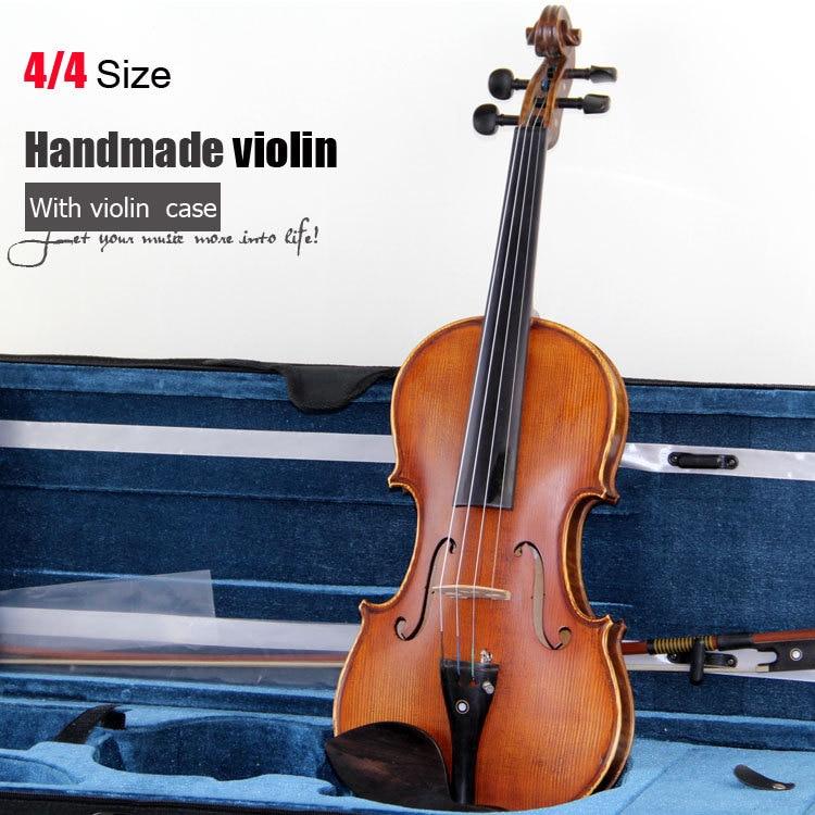 Niveli Master / Kopjoni 4/4 Violinë, llak Evropian i bërë me vaj ulliri i punuar me dorë / violinë e punuar me dorë me hark të lirë violine dhe rast violine