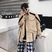 2019 new jacket spring trend Japanese coat mens long windbreaker fan color khaki free shipping