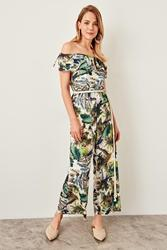 TRENDYOLMİLLA Green Pattern Jumpsuit TWOSS19LJ0202