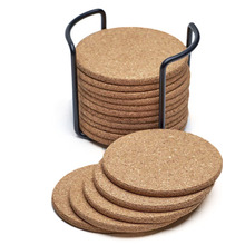 Natural Cork Coasters With Round 16pc Set with Metal Holder Storage Caddy – 1/5inch Thick, Absorbent, Eco-Friendly, Heat-