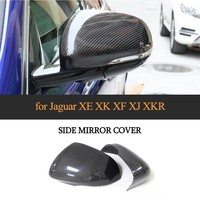 Side mirror cover for For Jaguar XE XK XF XJ XKR 2010 2018 carbon fiber both replacement add on style