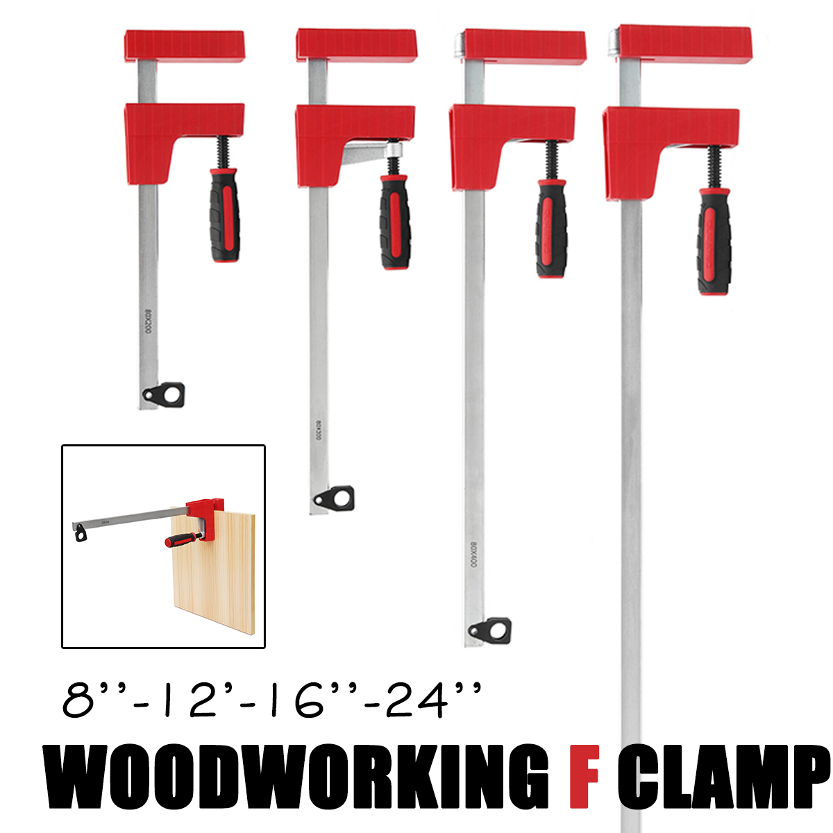 8/12/16/24 Inch F Parallel Clamp Heavy   80mm Depth F Clamp Woodworking Clamp Adjustable DIY Wood Carpenter Clamps Grip