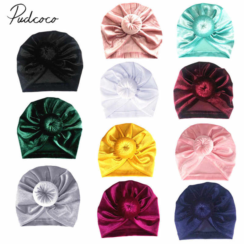 2019 Brand New Toddler Kids Baby Girls Velvet Hats Big Bow Solid Hairband Headband Stretch Turban Knot Head Wrap 17*16.5cm