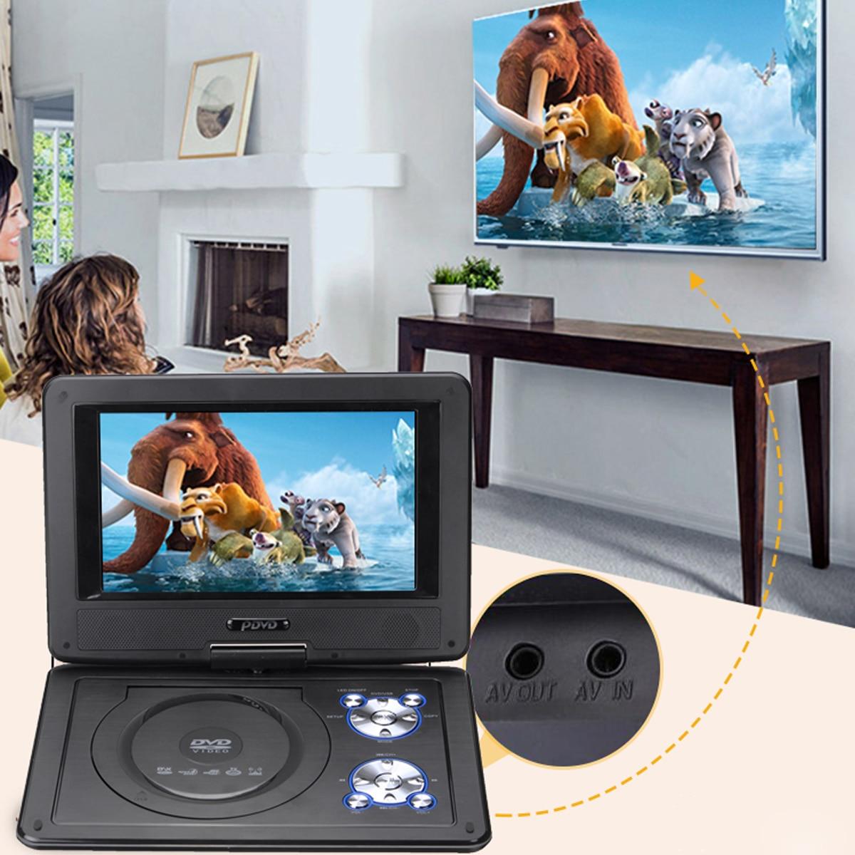 9,8 дюймов портативный DVD плеер 270 градусов вращающийся TFT ЖК-дисплей Экран FM VCD CD MP3 плеер для DVD ТВ автомобиля Зарядное устройство