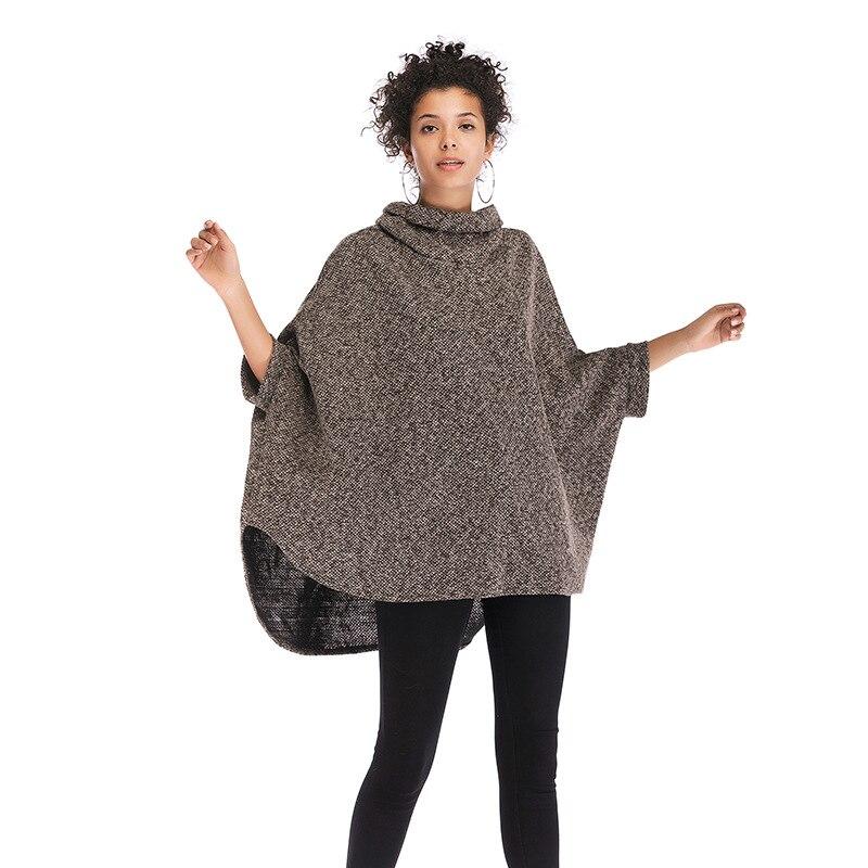 2018 Herbst Winter Frauen Fledermaus Ärmel Strickwaren Hohe Kragen Lose Unregelmäßigen Mantel Pullover Weiblichen Mantel Kaufe Jetzt