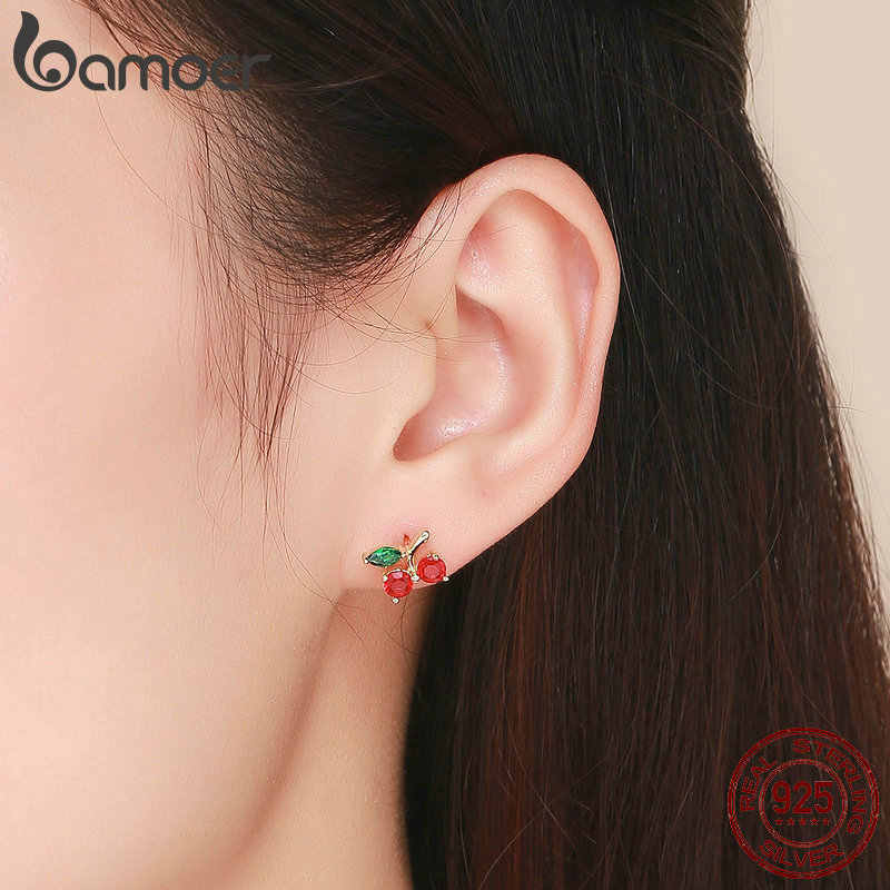 BAMOER Fashion 925 Sterling Silver Red Cherry Flower Exquisite Stud Earrings for Women Wedding Engagement Jewelry Gift SCE543