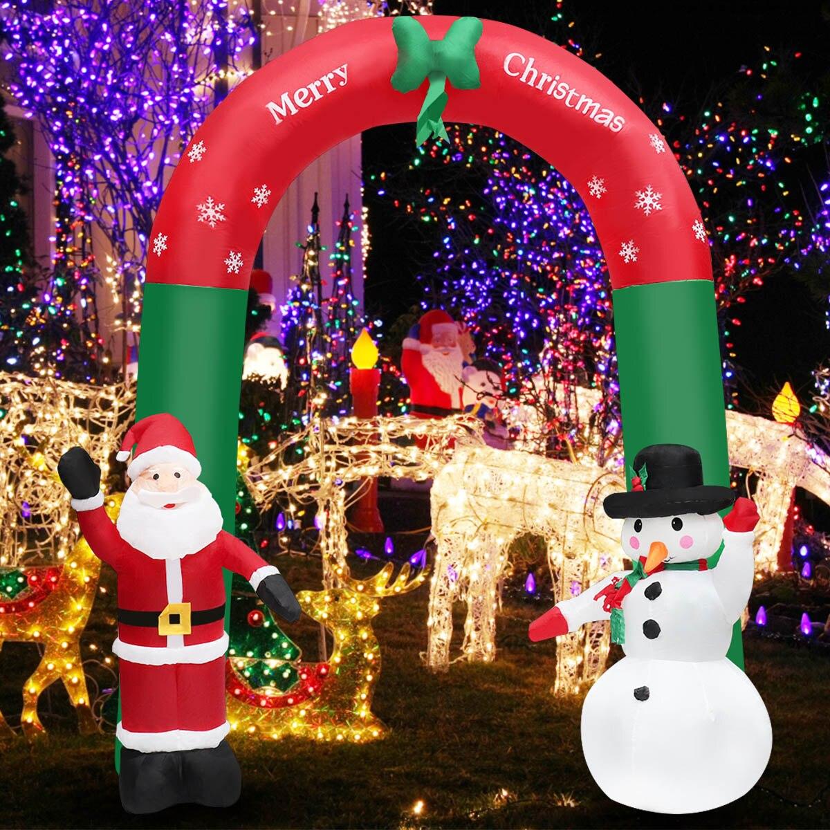 Arches de neige gonflables géantes 2.4 M jouet décoration de noël du père noël pour les hôtels souper marché lieux de divertissement vacances