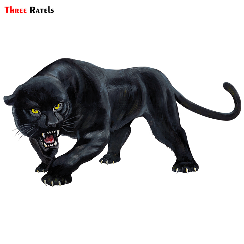 Three Ratels TRL570# 15X8cm Animal Sticker Black Panther Roaring  Colorful Funny Car Stickers  And Decals Auto Styling Removable