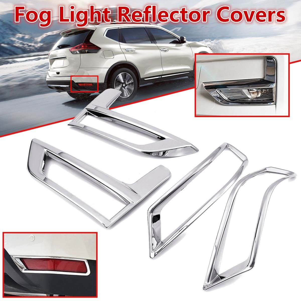 For Nissan Rogue X-Trail T32 Facelift Xtrail 2017 2018 Front + Rear Fog  Light Lamp Cover Chrome Bumper Reflector Accessories