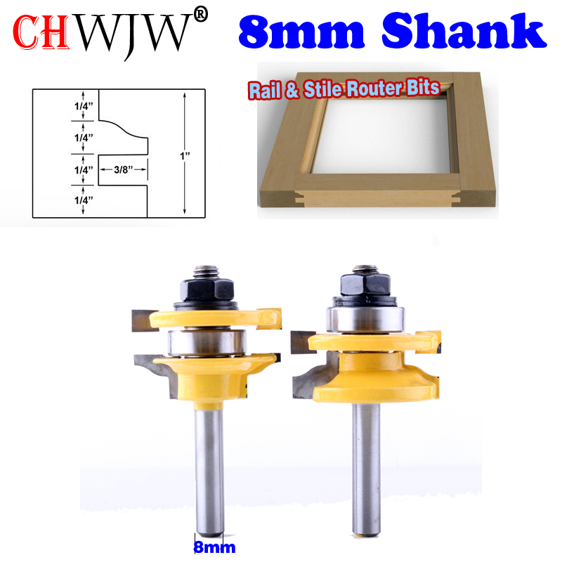 """2 Bit Rail and Stile Router Bit Set - 8"""" Shank door knife 25.4mmH Woodworking cutter Tenon Cutter for Woodworking Tools"""