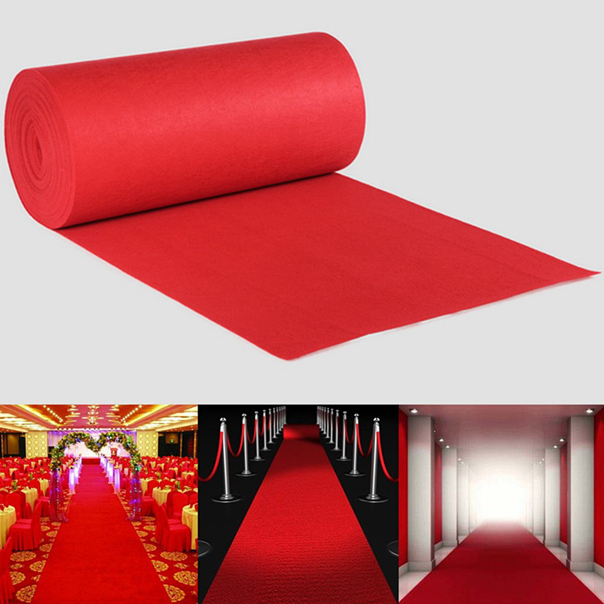 15X1.2M Wedding Aisle Floor Runner Carpet Polyester Large Red Carpet Rug Hollywood Awards Events Wedding Party Events Decoration