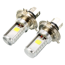 For Honda Kawasaki Suzuki 1pair Motorcycle H4 COB LED Headlight Hi/Lo 12W/6W Beam Front Light Lamp Bulb White