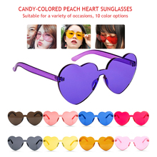 Women  Summer Heart Shaped Sunglasses Transparent Shades Sun Glasses Cool Color UV400 Oculos De Sol gafas