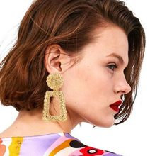 2019 Modern Women's Dangle Earrings Vintage Bohemia Gold Color Big Statement Za Drop Earrings For Women Party Fashion Jewelry(China)