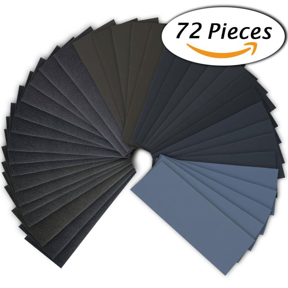 HLZS-72Pcs 400 To 3000 Grit Wet Dry Sandpaper Assortment 9 X 3.6 Inches For Automotive Sanding, Wood Furniture Finishing And W