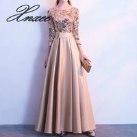 A Line Sequins Golden Dress Long Prom Party Dresses Women Elegant Robe
