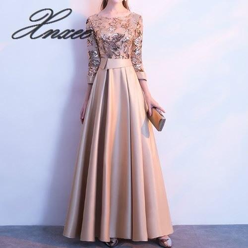 A-ligne paillettes Robe dorée longues robes de bal femmes Robe élégante