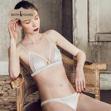 купить BOTHYOUNG Sexy Women's Bralette Bra Lace Sexy Bra Underwear Triangle Cup Lingerie White Pink по цене 1277.84 рублей