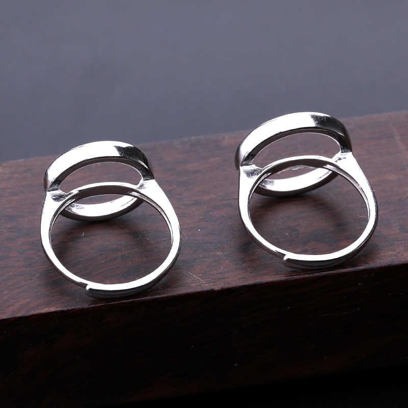 925 Sterling Silber Frauen Hochzeit Ring 13x13mm 14x14mm 15x15mm Runde Cabochon semi Mount Ring Weiß Gold Farbe Großhandel
