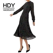 HDY Haoduoyi Simple Dot Printed Sweet Girls Black Color Collision Fashion Dress Summer Wave Stitching Pleated Femme Mid Calf