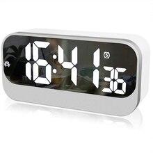 Ledนาฬิกาปลุกดิจิตอล,นาฬิกาLedกระจกพื้นผิว นาฬิกาปลุกการตั้งค่า ปรับความสว่าง วินาที,ข้างเตียงนาฬิกาปลุก