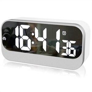 Image 1 - Réveil numérique Led, horloge Led avec Surface miroir réglage de lalarme luminosité réglable affichage des secondes, alarme de chevet
