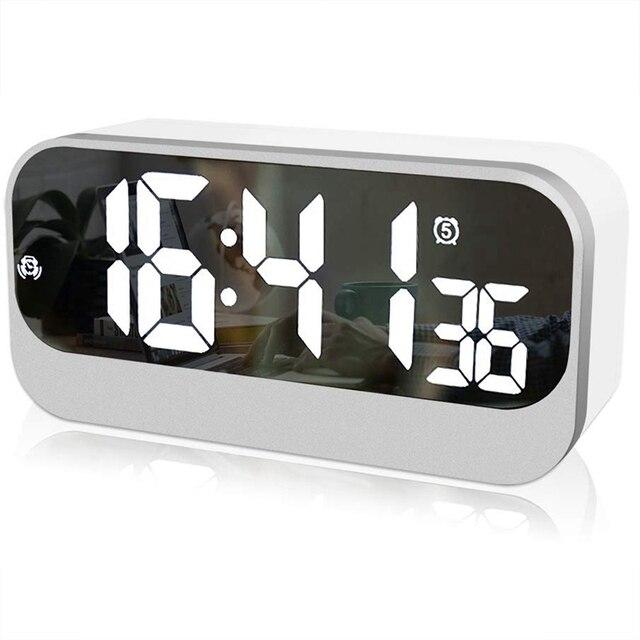 Réveil numérique Led, horloge Led avec Surface miroir réglage de lalarme luminosité réglable affichage des secondes, alarme de chevet