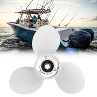 63V 45945 00 EL 9 1/4 x 10 Aluminum Alloy Boat Outboard Propeller For Yamaha 9.9 15HP 3 Blades 8 Spline Tooth R Rotation White
