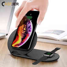 CASEIER Qi 2 In 1 Wireless Charger For Apple Watch 4 3 Fast iPhone X XS XR Samsung S9 S8 Adapter