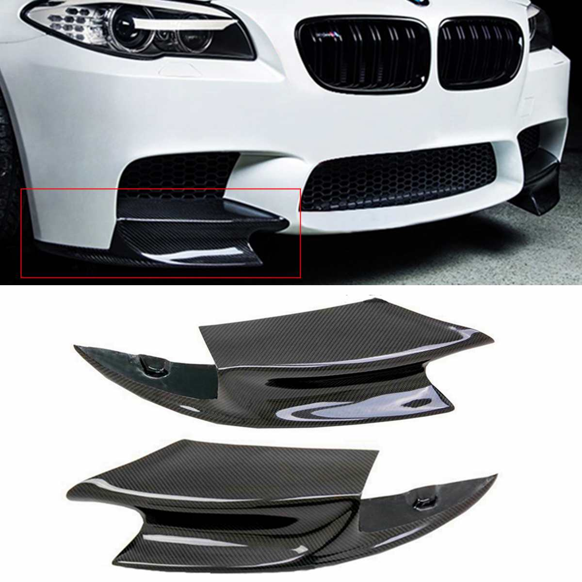 1 Pair Real Carbon Fiber Front Bumper Splitter Lip Fin Air Knife Auto Body For BMW F10 M5 2012-2016 R Style Diffuse Splitters1 Pair Real Carbon Fiber Front Bumper Splitter Lip Fin Air Knife Auto Body For BMW F10 M5 2012-2016 R Style Diffuse Splitters