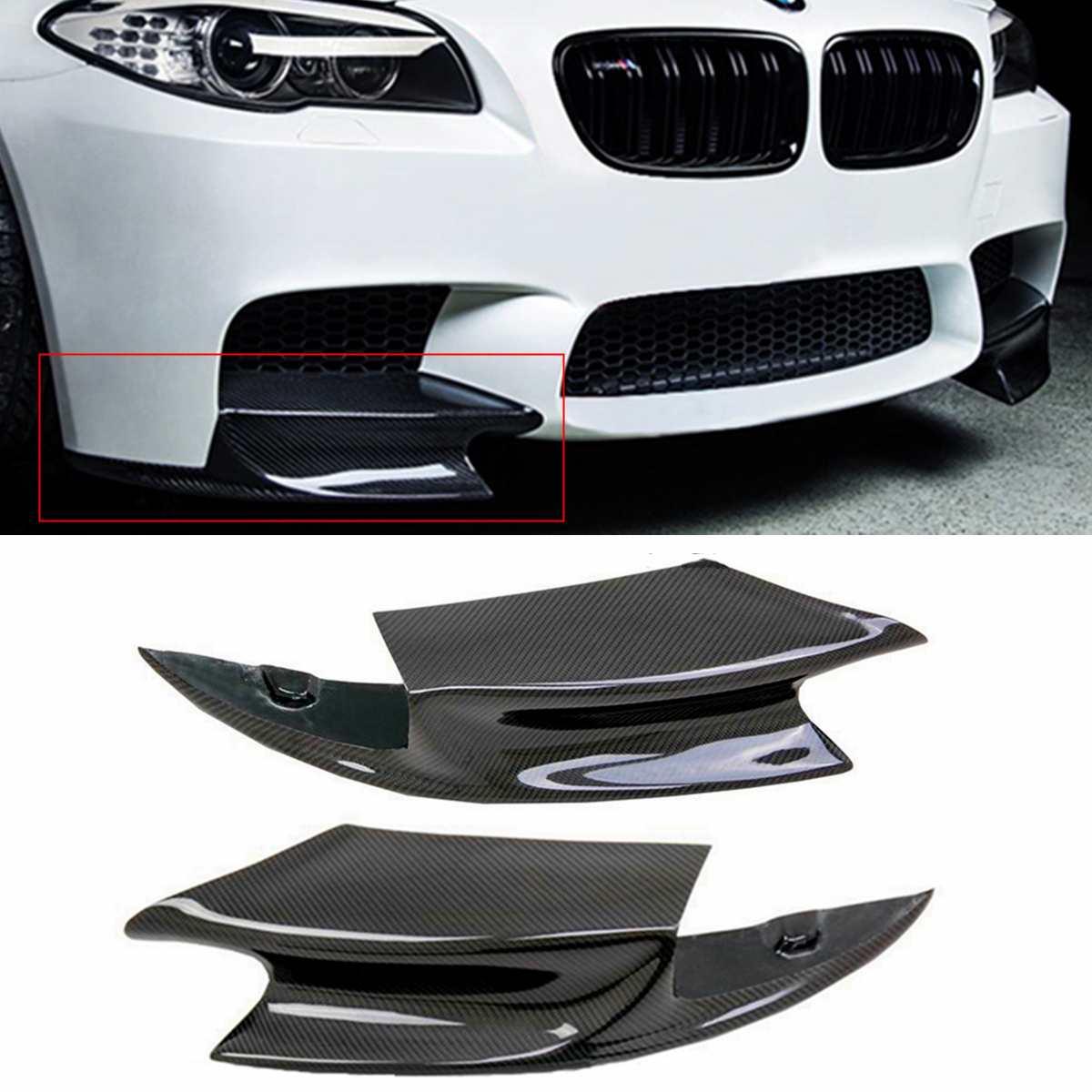 1 paire vraie Fiber de carbone avant pare-chocs séparateur lèvre aileron Air couteau Auto corps pour BMW F10 M5 2012-2016 R Style diffus Splitters