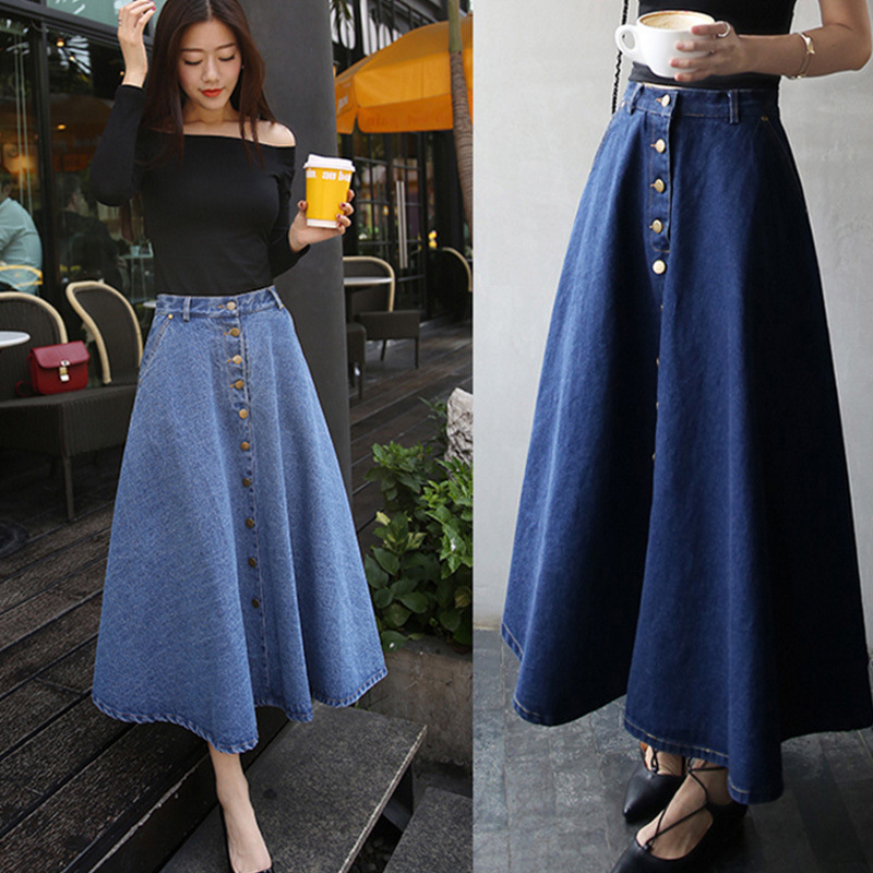 2020 Women A-line High Waist Long Denim Skirt Single-Breast Maxi Jeans Jupe Elegant Office Female Clothes 2019 Spring Summer