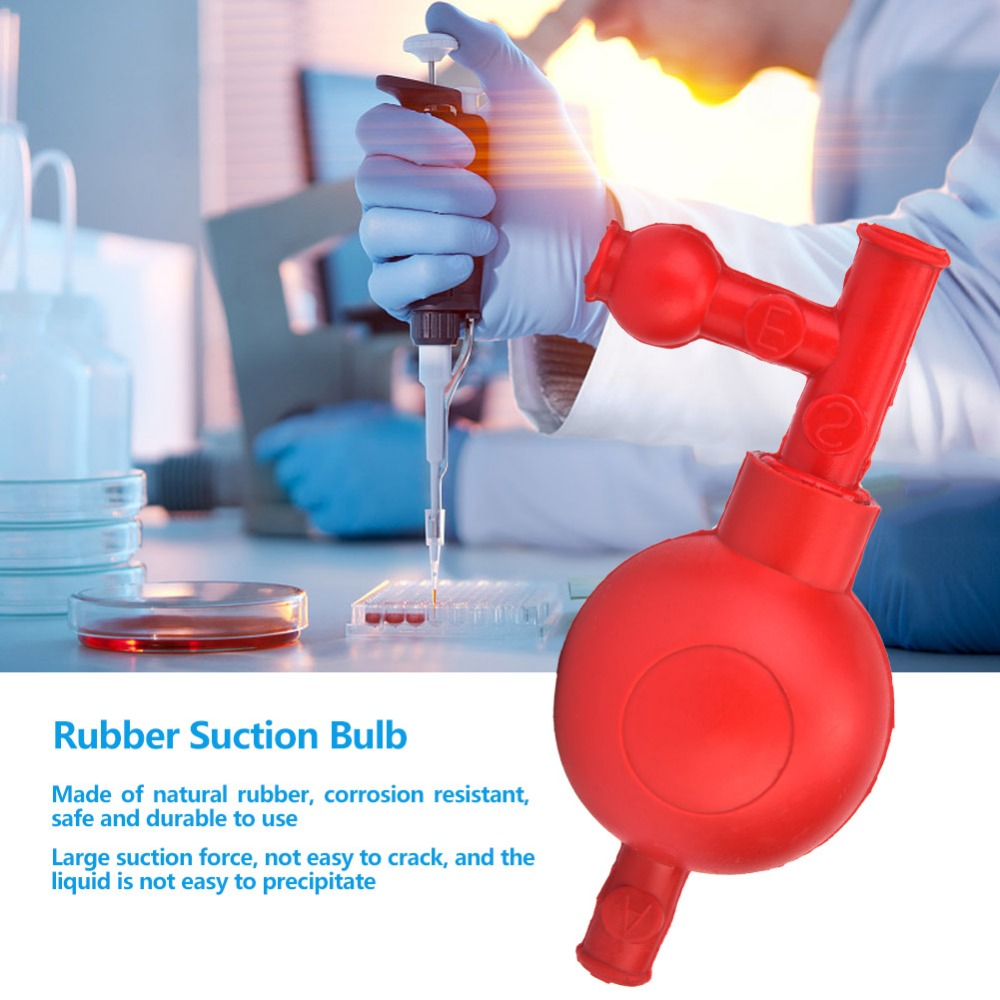 Lab Rubber Suction Bulb Safe Pressure Quantitative Pipette Filler With 3 Valves Red/Green