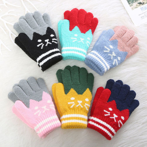 Kids Gloves Knitted Kid Stretchy Knitted Winter Warm Gloves for Girl Boy