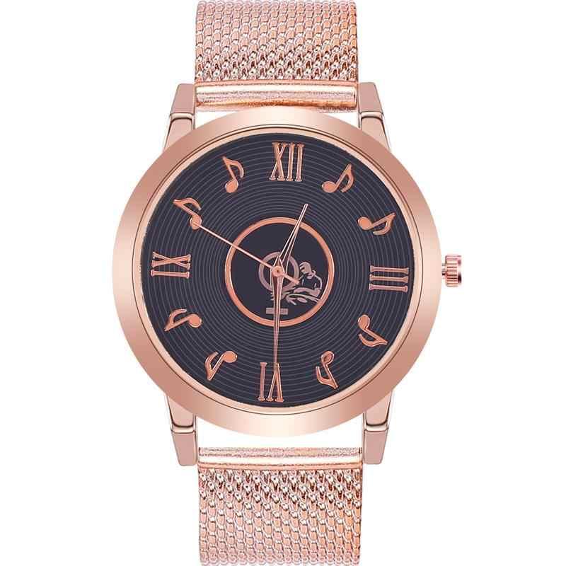 امرأة الموضة الإبداعية ساعة الإناث الموسيقى على مدار الساعة سوار شبكي الفولاذ المقاوم للصدأ كوارتز ساعة اليد المرأة سيدة روز ساعات ذهبية