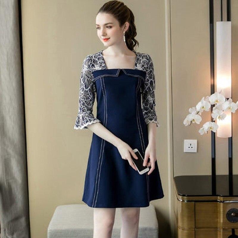 Grande taille femmes vêtements mode robe 2019 nouveau printemps et automne robe élégant tempérament dames robe M-5XLAS258
