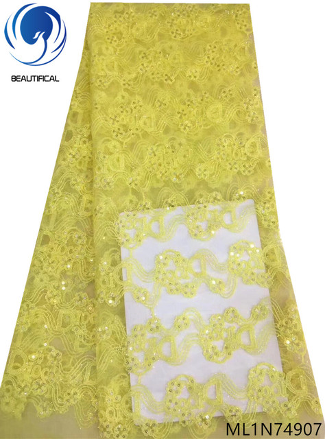 BEAUTIFICAL yellow sequin lace with free shipping new arrival sequine laces evening dress sequin nigerian lace 2019 ML1N749