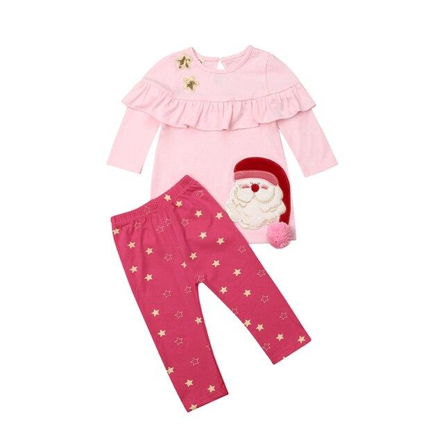 e351eed911e0 Princess Baby Girl Christmas Clothes Autumn Toddler Kids Xmas Star Print Clothing  Girls Baby Cotton T shirt Dress+Pants 2Pcs Set