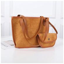 hot deal buy 2pcs set women shoulder bag scrub leather ladies handbag big capacity shopping bag women shoulder bags female messenger bags