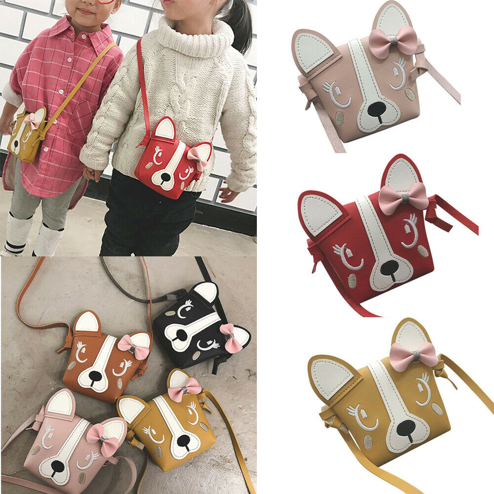 2019 New Mini Cute Dog Bow Leather Coin Bag Girl Coin Purse Baby Girl Children Bags