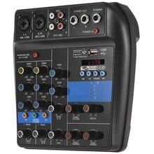 Портативный Bluetooth A4 микшерный пульт аудио микшер запись 48 В Phantom power Effects 4 канала аудио микшер с Usb Eu Plug
