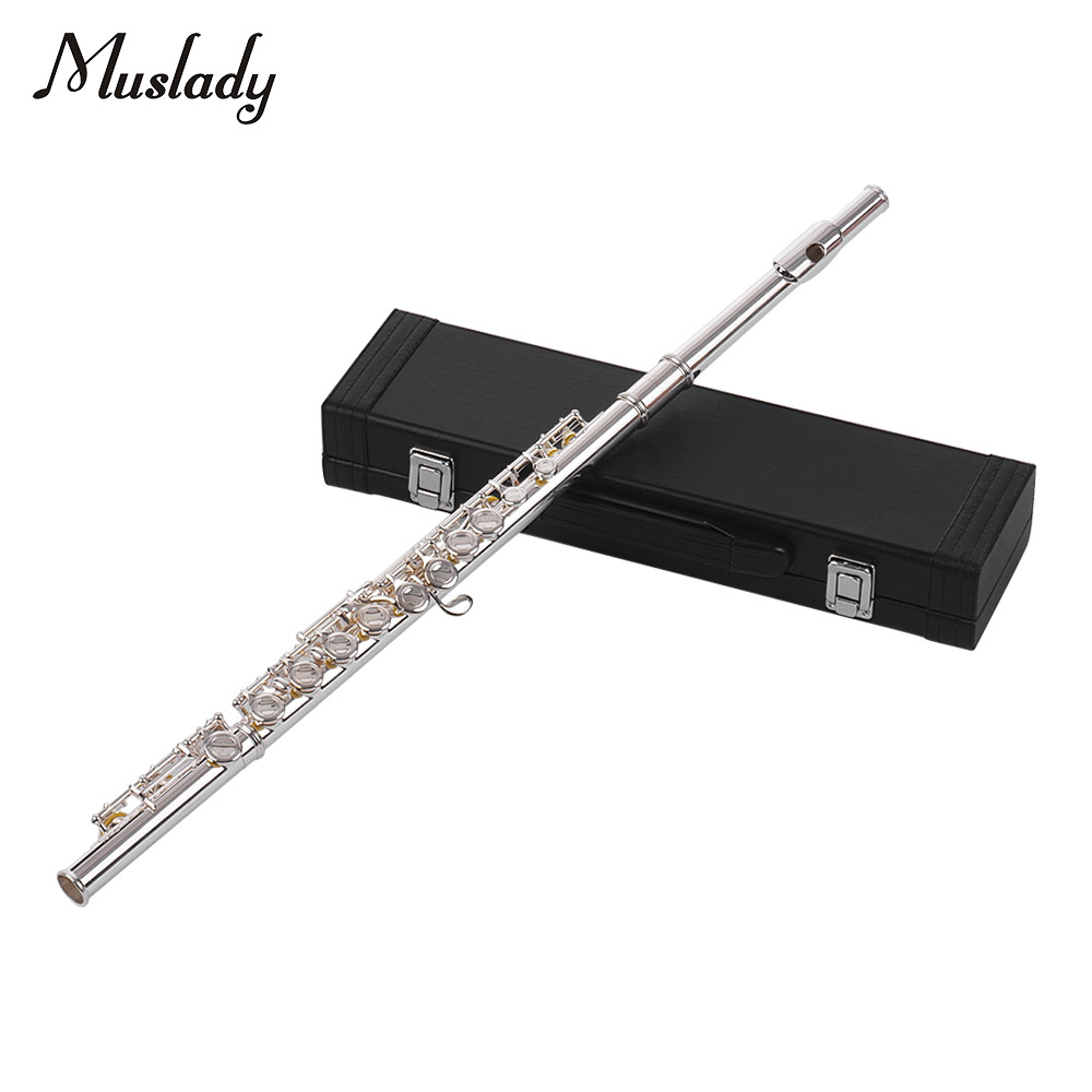 Hole Flute C Key Concert Flutes Cupronickel Silver Plated Woodwind Instrument  Set 16 Holes Closed with Cleaning ClothHole Flute C Key Concert Flutes Cupronickel Silver Plated Woodwind Instrument  Set 16 Holes Closed with Cleaning Cloth