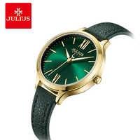 Julius Women Fashion Green Quartz Watch Lady Leather Watchband Watches Casual Waterproof Female Wristwatch Clock Montre Femme
