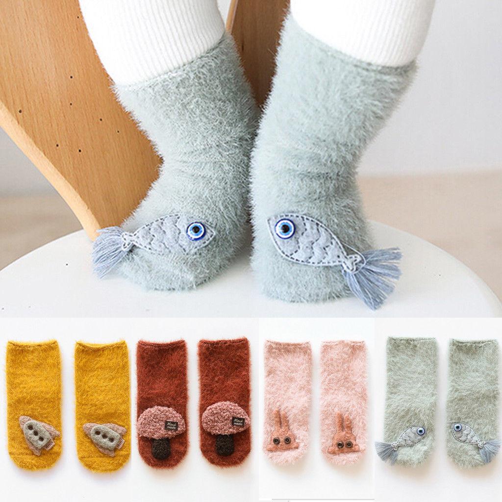 Cute Baby Toddler Socks Non-slip Thick Warm Infant Socks Cotton Blend Cartoon