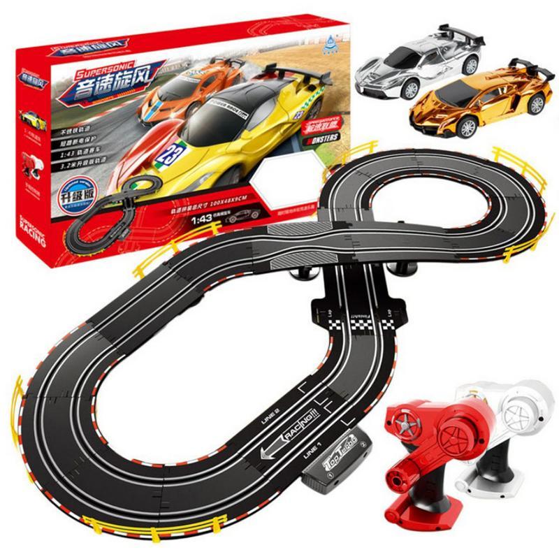 Circuit à manivelle télécommandé voiture de course Interaction Parent-enfant 1:43 jouet de piste de course voiture jouet pour enfants