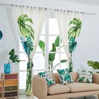 European Living Room Plant Printing Curtain High Quality Velvet Hemp Material Household Curtain Plant Printing Design