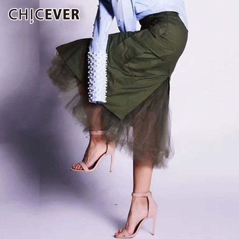CHICEVER 2019 Spring Skirts For Women High Waist Slim Patchwork Mesh Midi Bodycon Skirts Female Korean Fashion Clothes New