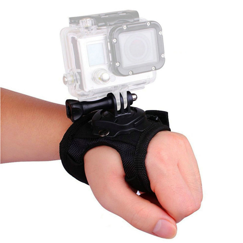Black Glove Wrist Band 360 Degree Swivel Rotation Hand Strap Belt Tripod Mount For GoPro Hero 5/4/3