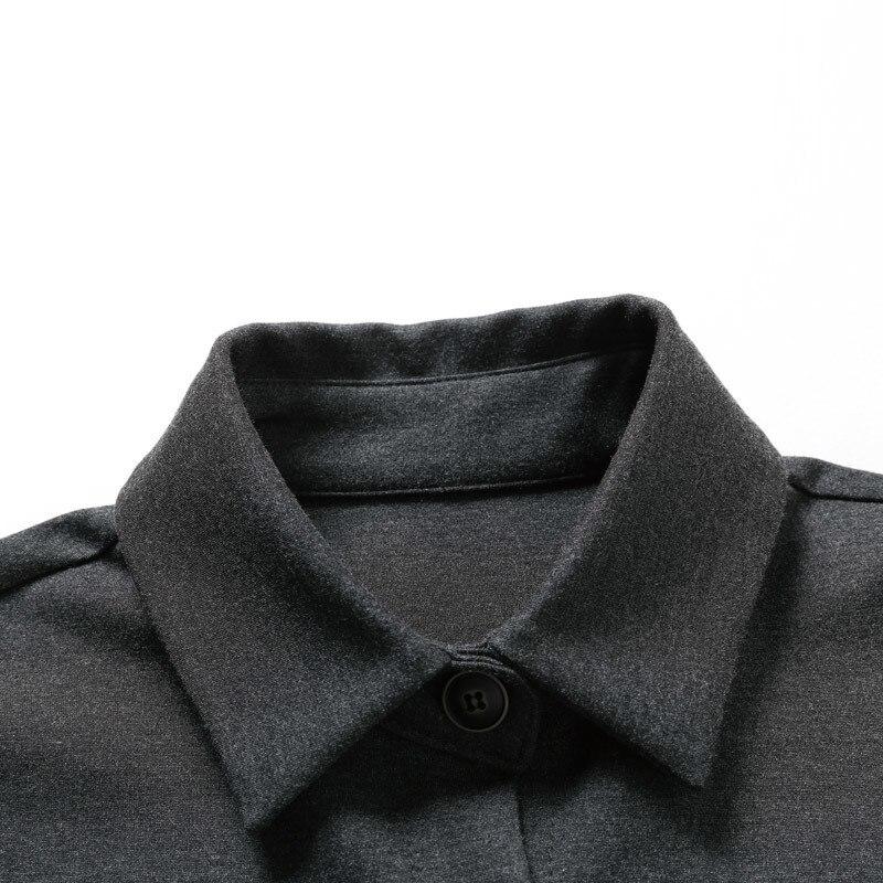 Nouveau Gris À Revers Black gray eam Longues Manches De 2019 Marée Mode Veste Femmes Irrégulière Printemps Ourlet Poche Jh668 Point Lâche Manteau Long qwCIIt50
