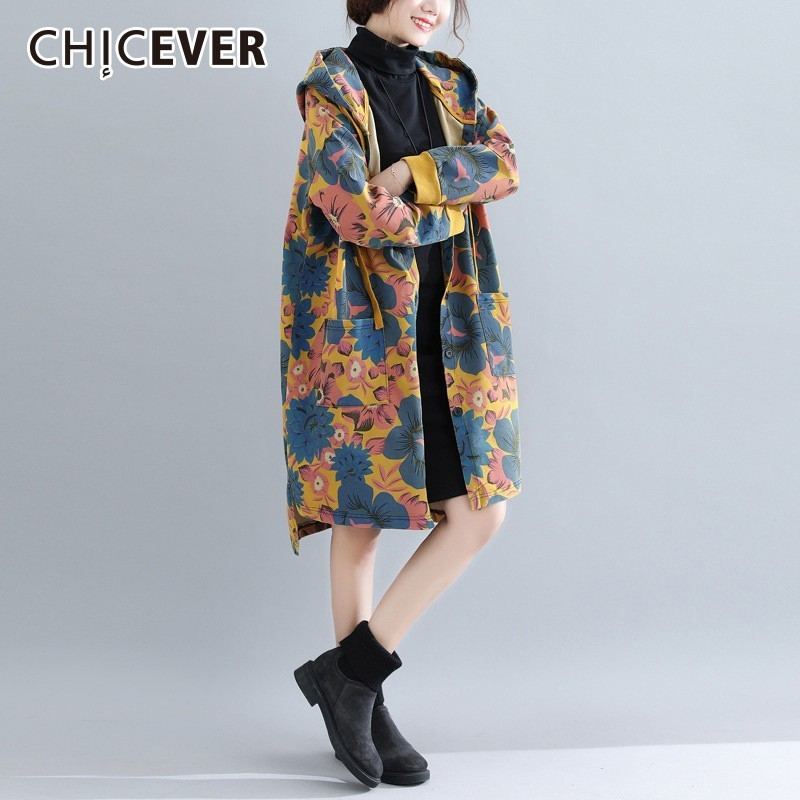 CHICEVER Flower Print   Trench   Coat For Women's Windbreaker Hooded Long Sleeve Hit Colors Oversize Windbreaker Fashion Tide